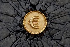 Euro rock. Gold coin with euro sign breaking the rock. 3d illustration Stock Photos