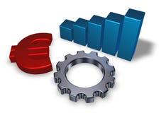 Euro- roda do símbolo e de engrenagem Imagens de Stock
