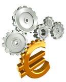 Euro- rodas denteadas douradas do símbolo e do metal Imagem de Stock