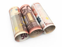50 euro roll banknotes. 3d render Fifty Euro roll banknotes close-up isolated on white and clipping path Stock Illustration
