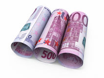500 euro roll banknotes. 3d render Five hundred euro roll banknotes isolated on white and clipping path Stock Photo