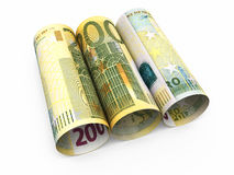 200 euro roll banknotes. 3d render Two hundred euro roll banknotes close-up isolated on white and clipping path stock illustration