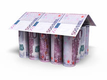 500 euro roll banknotes house shaped. 3d render 500 euro roll banknotes house shaped  on white and clipping path Royalty Free Stock Images