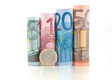 Euro rolled bills and coin Royalty Free Stock Photos