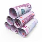 500 euro rollende bankbiljetten vector illustratie