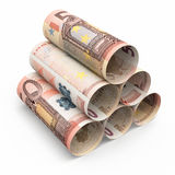 50 euro rolling banknotes. 3d render Fifty Euro roll banknotes close-up isolated on white and clipping path Stock Photography