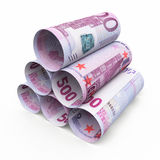 500 euro rolling banknotes. 3d render Five hundred euro roll banknotes isolated on white and clipping path Stock Image