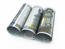 5 Euro rolling banknotes. 3d render Five euro roll banknotes close-up isolated on white and clipping path Stock Photos