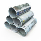 5 Euro rolling banknotes. 3d render Five euro roll banknotes close-up isolated on white and clipping path Royalty Free Stock Photo