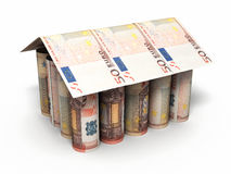 50 euro rolling banknotes. 3d render House shaped Fifty Euro roll banknotes close-up isolated on white and clipping path Royalty Free Stock Images