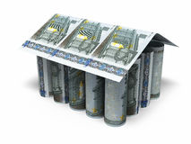 5 Euro rolling banknotes. 3d render House shaped Five euro roll banknotes close-up isolated on white and clipping path Royalty Free Stock Photography