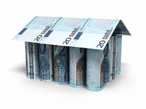 20 Euro rolling banknotes. 3d render House shaped Twenty Euro rolling banknotes close-up isolated on white and clipping path Stock Photos