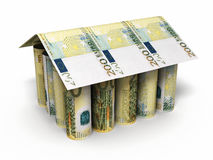 200 euro rolling banknotes. 3d render 200 euro roll banknotes house shaped close-up isolated on white and clipping path Royalty Free Stock Photo