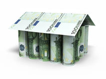 100 Euro rolling banknotes. 3d render 100 euro roll banknotes house shaped close-up isolated on white and clipping path royalty free illustration
