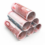 10 Euro rolling banknotes. 3d render Ten euro roll banknotes close-up isolated on white and clipping path Stock Illustration