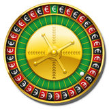 Euro Roulette Wheel Symbol Win. Roulette wheel with euro symbols instead of numbers. Isolated vector illustration on white background Stock Photos