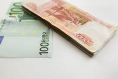 Euro and rubbles Stock Photos