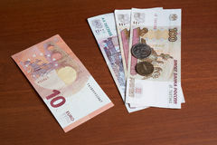 Euro and ruble Stock Photos