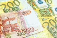 Euro,ruble banknotes. International currencies background. Money from different countries: euros, rubles stock photos