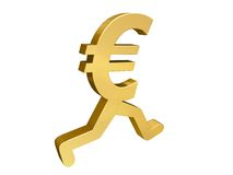Euro Running Past. A gold Euro symbol with legs running past the viewer Royalty Free Stock Photo