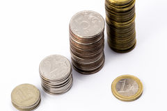Euro and russian ruble Royalty Free Stock Photo