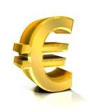 euro- símbolo 3d dourado Imagens de Stock