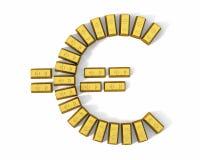 Euro- símbolo das barras de ouro, parte superior Fotografia de Stock