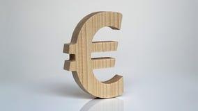 Euro- símbolo de madeira em um fundo branco Fotografia de Stock