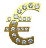 Euro- símbolo de moeda dourado com diamantes Fotografia de Stock
