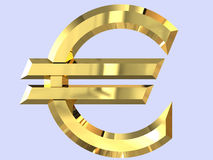 Euro- símbolo do ouro em 3D Foto de Stock