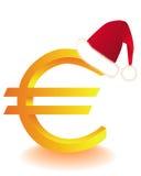 Euro- símbolo no chapéu uma Santa vermelha Imagens de Stock Royalty Free
