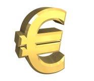 Euro- símbolo no ouro (3D) Fotos de Stock Royalty Free