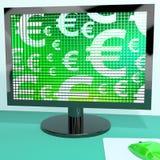 Euro- símbolos no ecrã de computador Foto de Stock Royalty Free