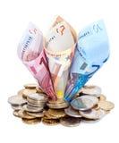 Euro s'élevant de la pile de pièce de monnaie Photo stock