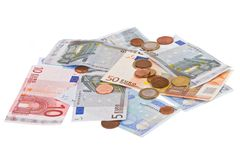 Euro's. European money spread out on a whithe background Royalty Free Stock Photography