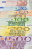 Euro`s. Joint European banknotes 50,100,200 and 500 Euro notes Stock Photo