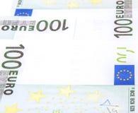 Euro 100's bank notes. 3 banknotes Royalty Free Stock Photo