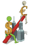 Euro's increase. It's a symbolic depiction of euro's increase Royalty Free Stock Photos