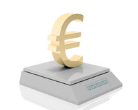 Euro's weigh. Golden euro symbol measured its weigh on digital scale Stock Illustration