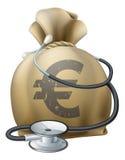 Euro sac et stéthoscope à argent Image stock