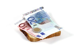 Euro sandwich. Banknote on a slice of bread Stock Image