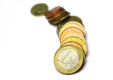 Euro savings. Euro coins isolated - savings symbol Royalty Free Stock Images