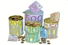 Euro savings. At crisis time in Europe Stock Photography