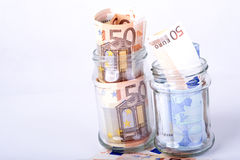 Euro savings hidden in a jar Royalty Free Stock Photo