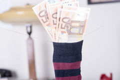 Euro savings hidden in a sock Royalty Free Stock Photos