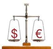 Euro scala di valuta del dollaro Fotografia Stock Libera da Diritti