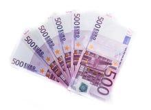 500-Euro - Schein-Eurobanknotengeld Währung der Europäischen Gemeinschaft Stockbild