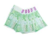 100-Euro - Schein-Eurobanknotengeld Währung der Europäischen Gemeinschaft Stockbild