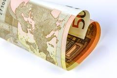 50-Euro - Schein in Form eines Herzens Lizenzfreie Stockbilder