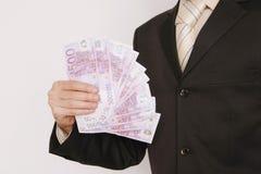 500-Euro - Schein-Geschäftsmanngewinnen Lizenzfreies Stockbild